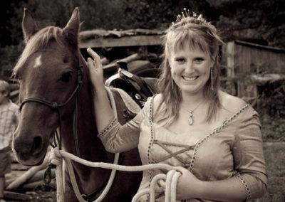 Wedding photographer Dorset bride horse