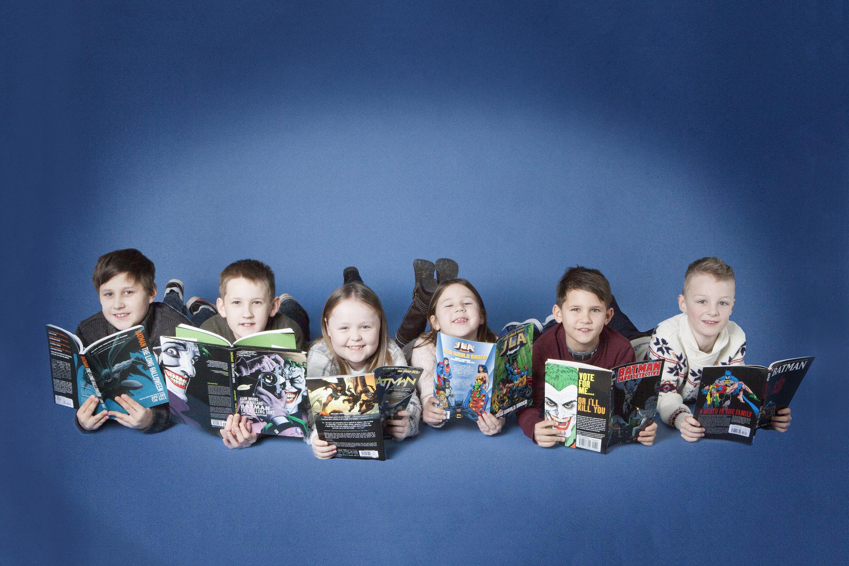 Family portrait photography Dorchester Dorset book reading