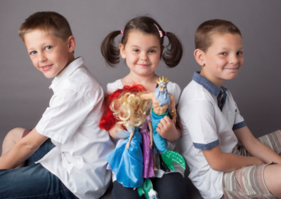 Family portrait photography Dorchester Dorset Brothers and sister dolls